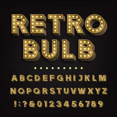 Retro sign alphabet. 3D vintage light bulb type letters and numbers.