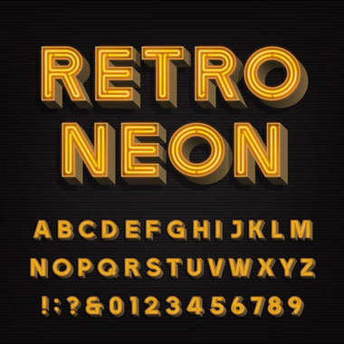 Retro sign alphabet. 3D vintage neon letters and numbers. Signboard font.
