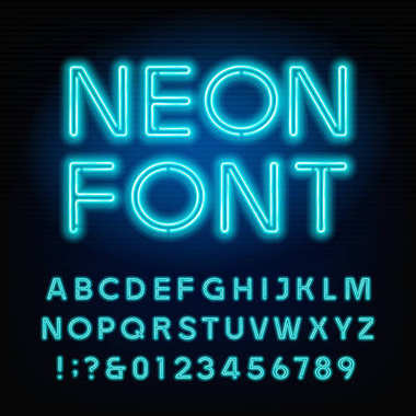 Blue neon tube alphabet font. Neon color letters and numbers.