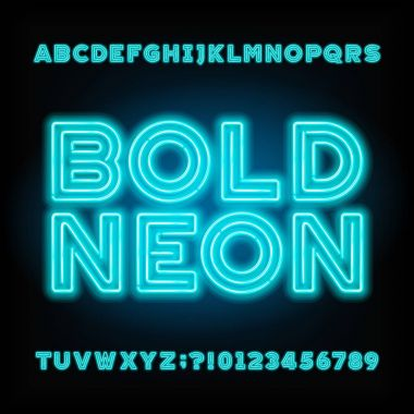 Blue neon tube alphabet font. Neon color bold letters and numbers.