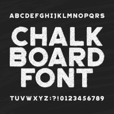 Chalk board alphabet font. Messy type letters and numbers on a dark background.