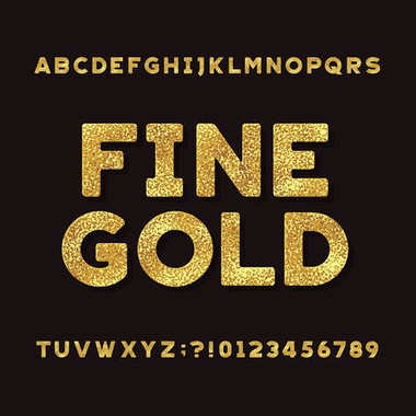 Gold Alphabet Font. Metallic effect shiny letters and numbers.