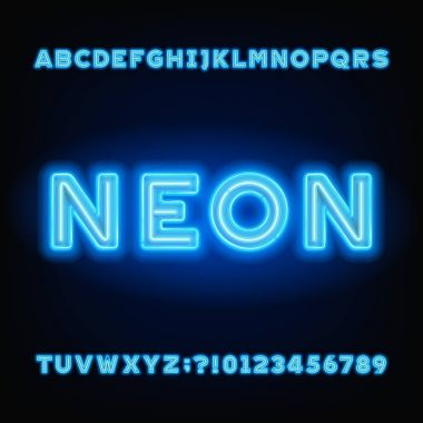 Neon tube alphabet font. White and blue color bold letters and numbers. Stock vector typeset for your headers or any typography design.