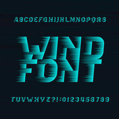 Wind alphabet vector font. Speed effect type letters and numbers on a dark background. Stock vector typeset for your headers or any typography design.