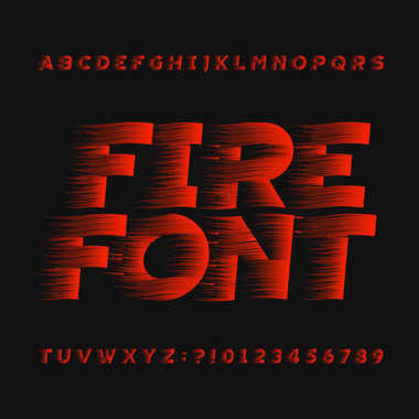 Abstract fire alphabet font. Type letters and numbers on a dark background. Stock vector typeface for your headers or any typography design.