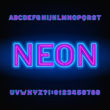 Neon tube alphabet font. Blue and pink color bold letters and numbers. Stock vector typeset for your headers or any typography design.
