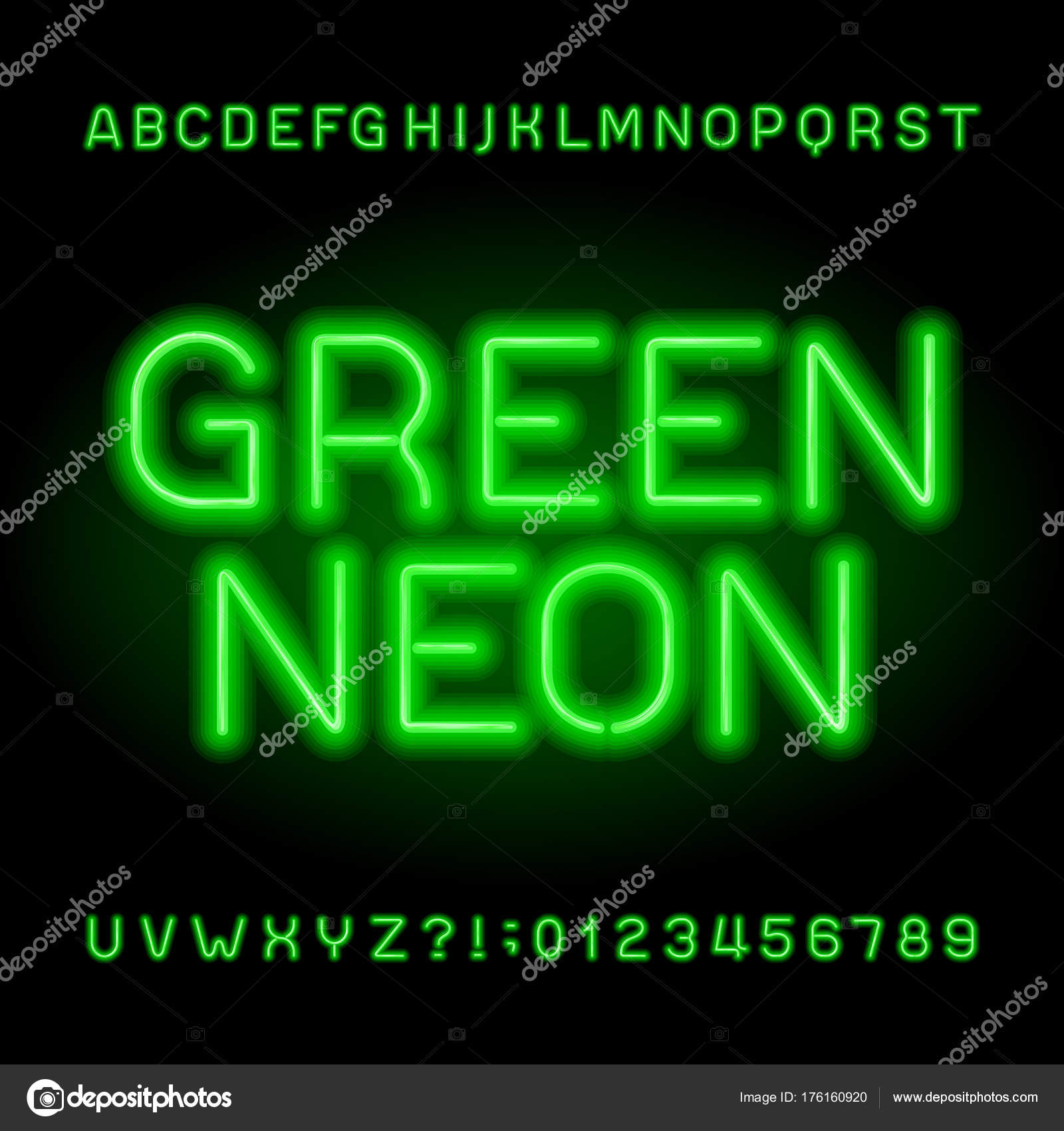 Neon Tube Alphabet Font Green Color Letters Numbers Stock
