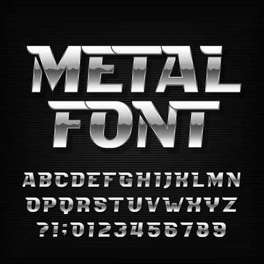 Metal alphabet font. Chrome effect futuristic oblique letters and numbers on a dark background. Stock vector typeface for your headers or any typography design.