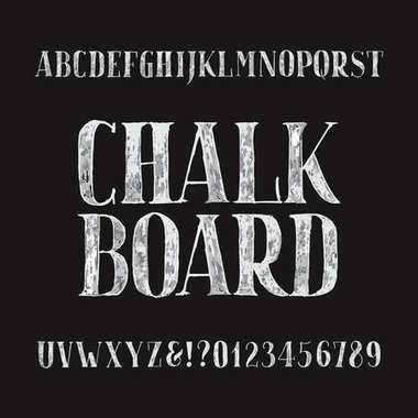 Chalk board alphabet font. Hand drawn type letters and numbers on a dark background. Stock vector typeface for your headers or any typography design.