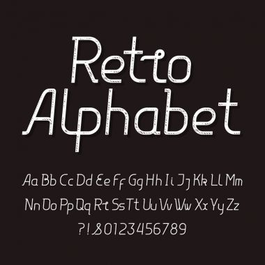 Retro alphabet font. Distressed vintage typeface. Upperscale and lowercase letters and numbers. Stock vector typeset for your headers or any typography design.