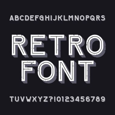 Retro alphabet font. Rough vintage typeface. Type letters and numbers. Stock vector typeset for your headers or any typography design.