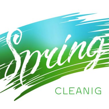 Spring cleaning text. Stock vector brush lettering on the abstract color background.