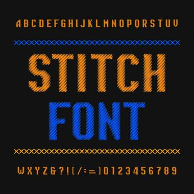 Stitch alphabet font. Embroidery vintage typeface on dark background. Type letters and numbers. Stock vector typeset for your headers or any typography design.