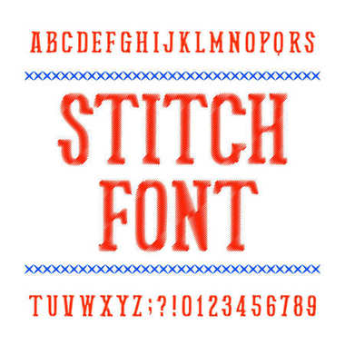Stitch alphabet font. Embroidery vintage typeface on white background. Type letters and numbers. Stock vector typeset for your headers or any typography design.