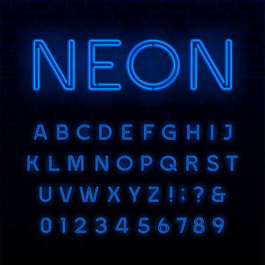 Blue neon tube alphabet font. Neon color shiny letters, numbers and symbols. Stock vector typeface for any typography design.
