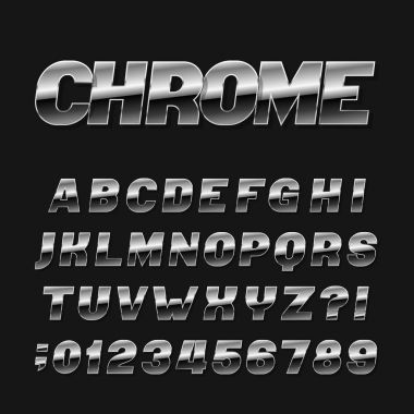 Chrome effect alphabet font. Metal numbers, symbols and letters on a black background. Stock vector typeset for any typography design.