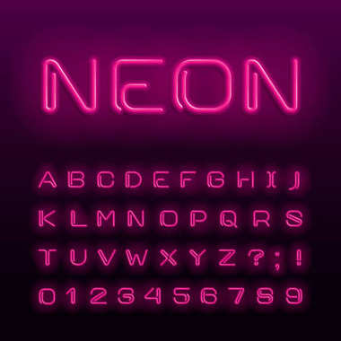 Neon lamp alphabet font. Neon color shiny letters, numbers and symbols. Stock vector typeface for any typography design.