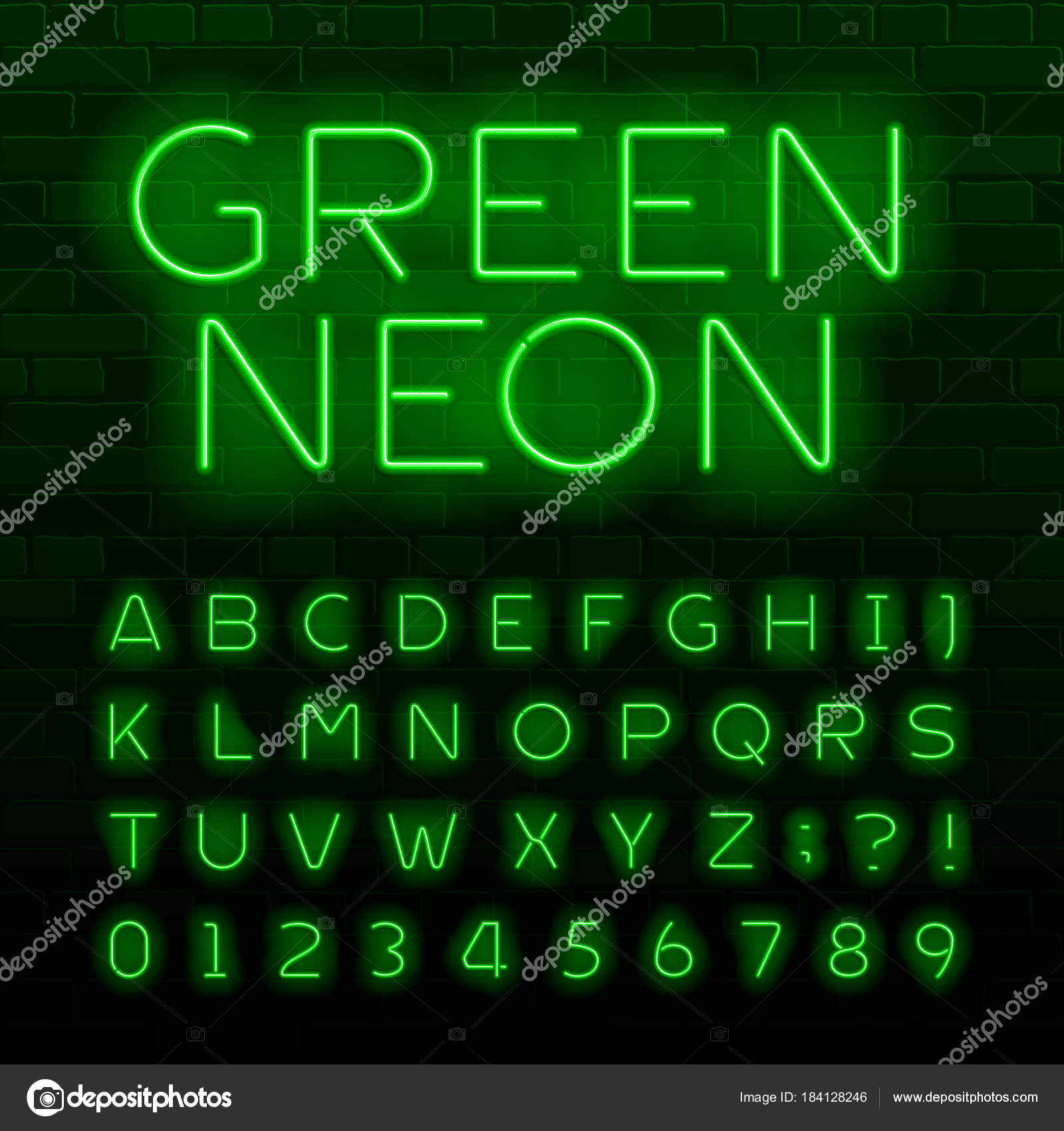 Green Neon Lamp Alphabet Font Neon Color Shiny Letters Numbers ...