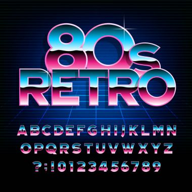 80's retro alphabet font. Metallic effect type letters and numbers. Stock vector typeface for any typography design.