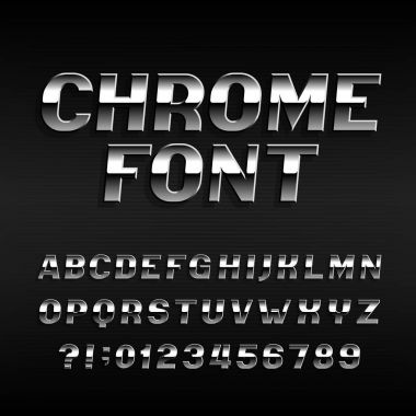 Chrome effect alphabet font. Steel numbers, symbols and letters. Stock vector typography for your design.