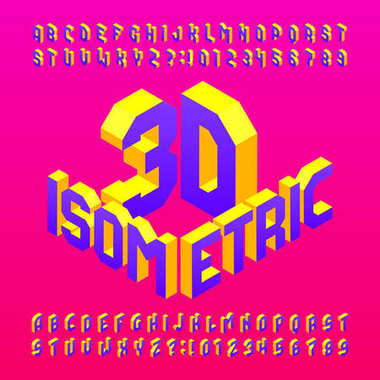 Isometric alphabet font. 3d effect letters and numbers. Stock vector typeface for any typography design.