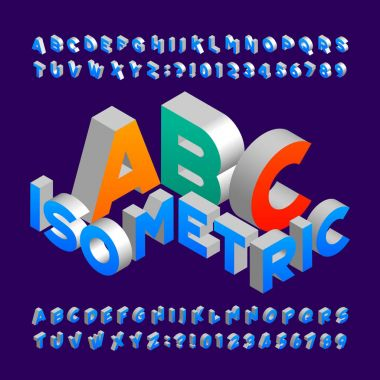 Isometric alphabet font. 3d effect letters, numbers and symbols. Stock vector typeface for any typography design.