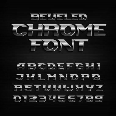 Chrome effect alphabet font. Steel oblique letters and numbers. Stock vector typography for your design.