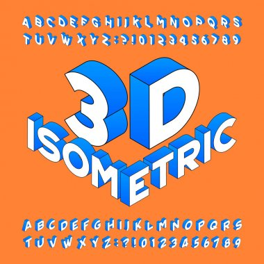 Isometric alphabet font. 3d effect letters, numbers and symbols. Stock vector typeset for any typography design.