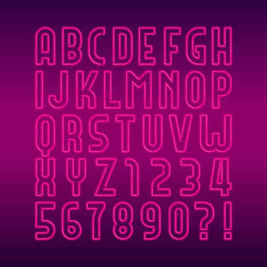 Neon lamp alphabet font. Neon color bright letters, numbers and symbols. Stock vector typeface for any typography design.