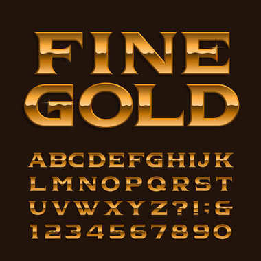 Gold alphabet font. Luxury glossy letters, numbers and symbols. Stock vector typeface for any typography design.