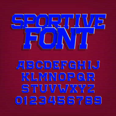 Sportive alphabet vector font. Retro style typeface for labels, titles, posters or sportswear. Type letters and numbers. Stock vector typography.