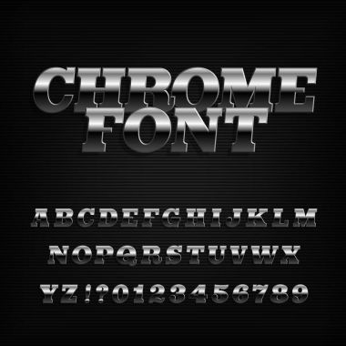 Chrome effect alphabet font. Metal serif oblique letters and numbers. Stock vector typography for your design.
