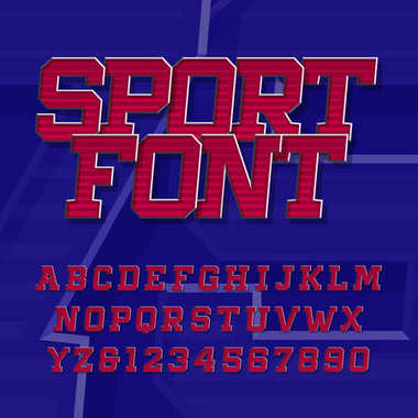 Sport alphabet vector font. Retro style typeface for labels, titles, posters or sportswear. Oblique type letters and numbers. Stock vector typography.