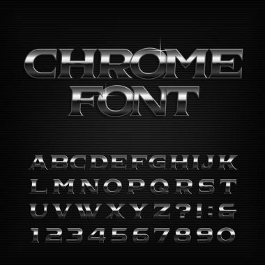 Chrome effect alphabet font. Metal oblique letters, numbers and symbols. Stock vector typeface for your design.