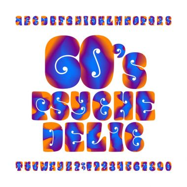 Psychedelic alphabet vector font. Hand drawn letters and numbers in 60's hippy style. Stock vector typeface for your design.