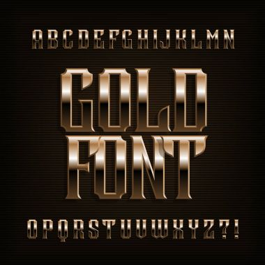 Gold alphabet font. Fantasy metal effect letters, numbers and symbols. Stock vector vintage typeface for your design.