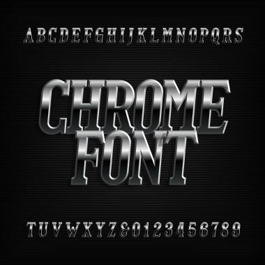 Chrome effect alphabet font. Metal oblique letters, numbers and symbols. Stock vector typeset for your design.