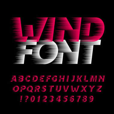 Wind alphabet font. Fast speed effect type letters and numbers on black background.  Stock vector typeface. Easy color change.