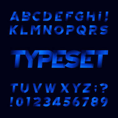 Abstract alphabet font. Oblique type letters and numbers. Black background. Stock vector typeface for your design.