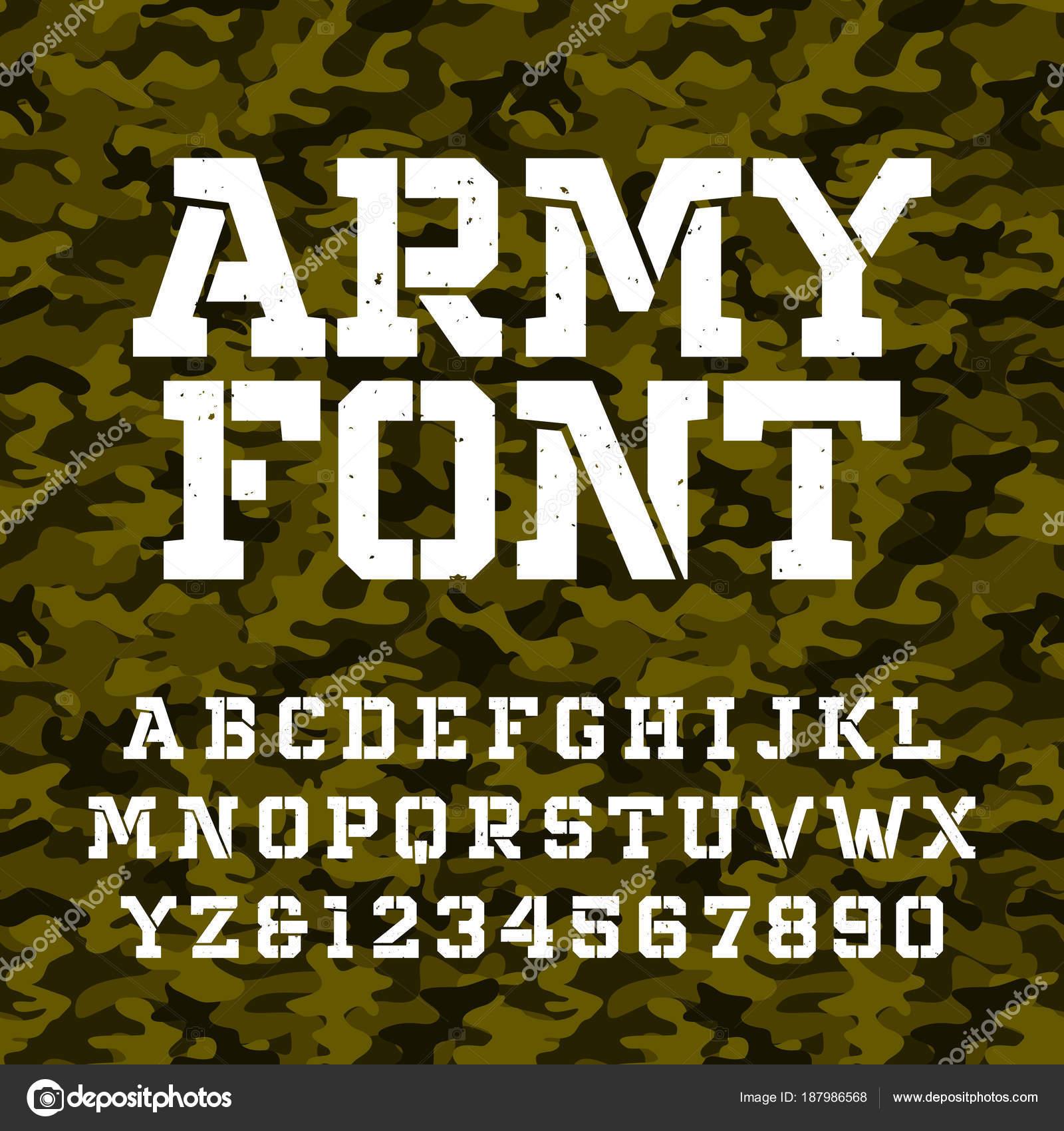 Letra Alfabeto Plantilla Ejército Tipo Letras Números Sobre Fondo ...