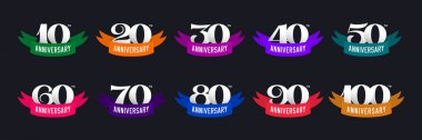 Set of anniversary signs from 10 to 100. Numbers and color ribbons on a dark background. Stock vector signs design elements.