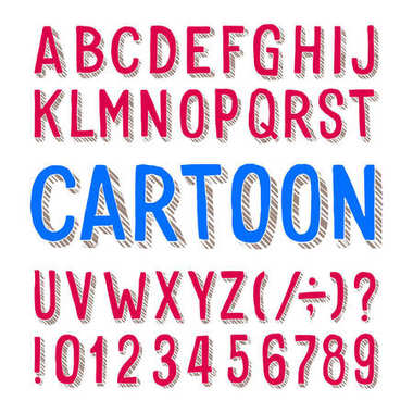 Cartoon alphabet font. Dirty letters, numbers and symbols on white background. Stock vector typeface for any typography design.