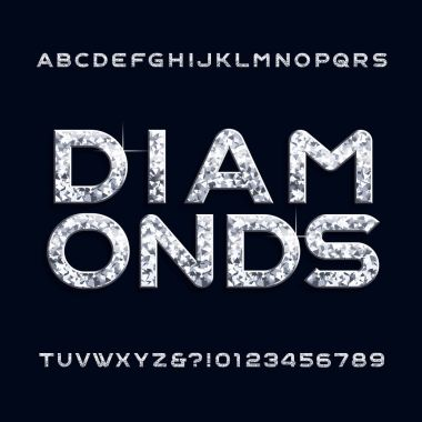 Diamond alphabet font. Jewellery letters and numbers. Stock vector typeface for any typography design.