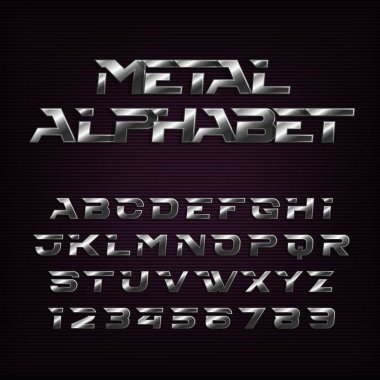 Metal effect alphabet font. Futuristic steel letters and numbers. Stock vector typography for your design.