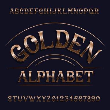 Golden alphabet font. Retro ornate letters. Stock vector typeset for your design.
