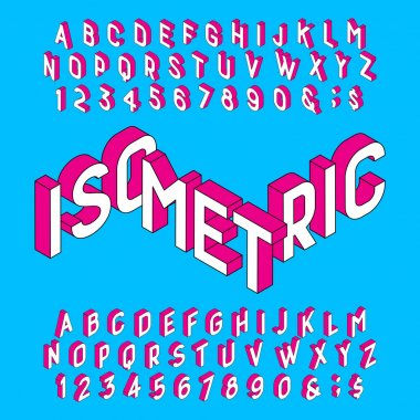 Isometric alphabet font. Letters and numbers on a light blue background. Stock vector typeface for your design.