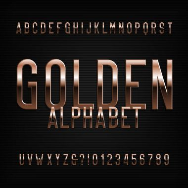 Gold alphabet font. Golden beveled glossy letters, numbers and symbols. Stock vector typeface for any typography design.