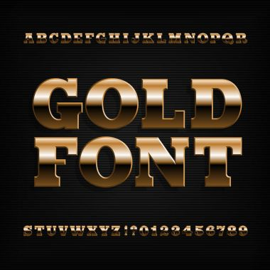 Gold alphabet font. Golden beveled serif letters and numbers. Stock vector typeface for any typography design.