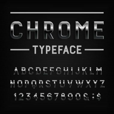 Chrome effect alphabet font. Metal letters, numbers and symbols. Stock vector typography for your design.