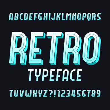 Retro alphabet font. Vintage typeface. Type letters and numbers. Stock vector typeface for any typography design.